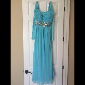Size 18W Turquoise strapless gown Rhinestone waist